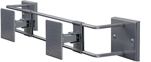 R-Go Tools Steel Double Screen Muurbeugel, verstelbaar, zilver