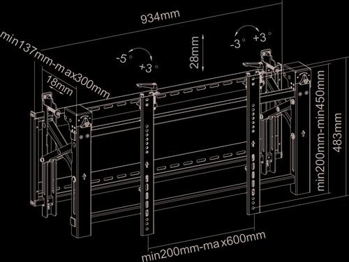 "Newstar LED-VW2000BLACK 75"" Zwart flat panel muur steun-3"