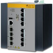 Allied Telesis AT-IE300-12GP-80 Managed L3 Gigabit Ethernet (10/100/1000) Power over Ethernet (PoE) Zwart, Grijs