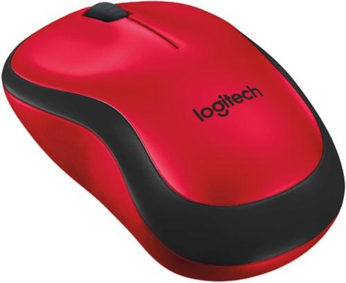 Logitech M220 Silent RF Draadloos Optisch 1000DPI Ambidextrous Zwart, Rood muis