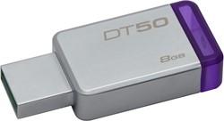Kingston Technology DataTraveler 50 8GB 8GB USB 3.0 (3.1 Gen 1) Type-A Paars, Zilver USB flash drive