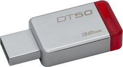 Kingston Technology DataTraveler 50 32GB 32GB USB 3.0 (3.1 Gen 1) Type-A Rood, Zilver USB flash drive