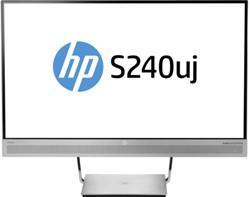 """HP EliteDisplay S240uj 23.8"""" Wide Quad HD IPS Mat Zwart, Zilver"""
