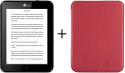 Icarus Bundel van de Illumina E654BK e-reader met rode beschermhoes C020RD
