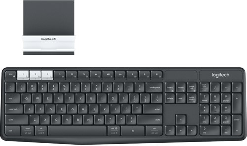 Logitech K375s RF Wireless + Bluetooth Grafiet, Wit toetsenbord
