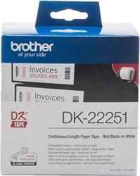 Brother DK-22251 Zwart op wit + rode header DK labelprinter-tape