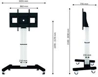 "Newstar PLASMA-M2500SILVERMS 100"" Portable flat panel floor stand Zwart, Wit flat panel vloer standaard"