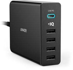 Anker PowerPort+ 5 Binnen Zwart oplader voor mobiele apparatuur