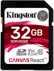 Kingston Technology SD Canvas React 32GB SDHC UHS-I Klasse 10 flashgeheugen