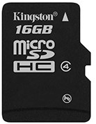 Kingston Technology 16Gb microSDHC 16GB MicroSDHC flashgeheugen